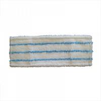 МОП плоский 40х13 см, микрофибра+мягкий абразив, ухо+карман, белый с синей полосой