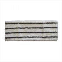 МОП плоский 50х14 см, микрофибра+жесткий абразив, ухо+карман, белый с черной полосой