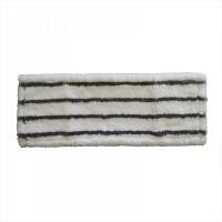 МОП плоский 40х13 см, микрофибра+жесткий абразив, ухо+карман, белый с черной полосой